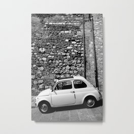 Fiat in Tuscany Black and White Metal Print