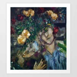 Lovers With Flowers, floral portrait painting by Marc Chagall Art Print