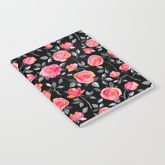 Roses on Black - a watercolor floral pattern Notebook