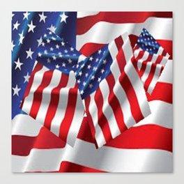 Patriotic American Flag Abstract Art Canvas Print