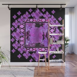 BLACK ART DECO  AMETHYST GEMS   DECORATIVE ART Wall Mural