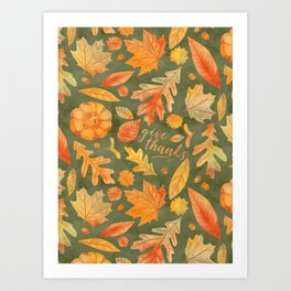 Give Thanks Green Autumn Watercolor Leaves Art Print