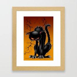 Black Cat Evil Angry Funny Character Framed Art Print