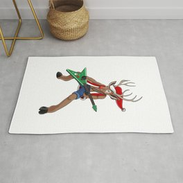 Christmas Rock Reindeer Rug