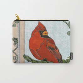 Stained Glass Cardinal Carry-All Pouch