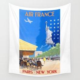 1951 Paris New York Air France Advertising Poster Wall Tapestry