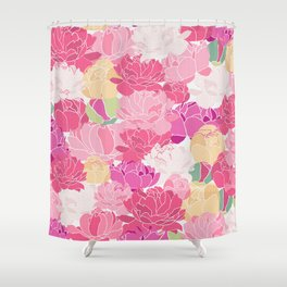 Bunch of Colorful Peonies Flowers Pattern Shower Curtain