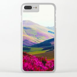Beautiful Candy Land Fairytale Fantasy Landscape Purple pink Flowers Rolling Hills Moutains Clear iPhone Case