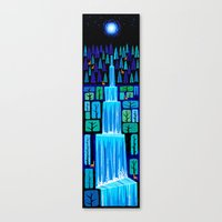 waterfall Canvas Prints featuring Waterfall by Peter Donnelly Illustration