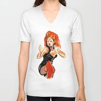 spice V-neck T-shirts featuring Ginger Spice by Allison K.