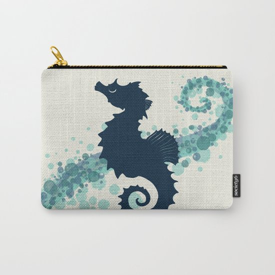 """""""Seahorse Silhouette"""" ` digital illustration by Amber Marine, (c) 2015 Carry-All Pouch"""