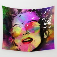 marilyn Wall Tapestries featuring Marilyn  by mark ashkenazi