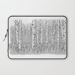 Birch Trees Black and White Illustration Laptop Sleeve
