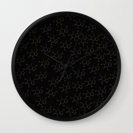Caffeine pattern- Rose gold/ Black Wall Clock