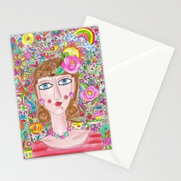 Woman with her things Stationery Cards