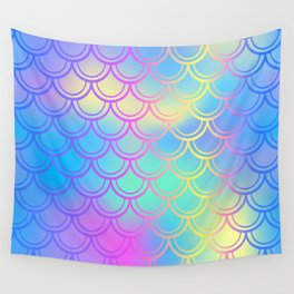 Blue Yellow Mermaid Tail Abstraction Wall Tapestry