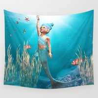 little mermaid Wall Tapestries featuring Little Mermaid by Simone Gatterwe