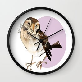 Female Sparrow in Pink (c) 2017 Wall Clock