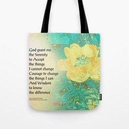 Serenity Prayer Peony Yellow Turquoise Tote Bag