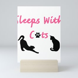 Sleeps With Cats Pink Black Cats Silhouette Graphic design graphic Mini Art Print
