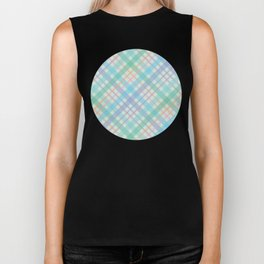 Colorful Plaid Pattern with Green Background Biker Tank