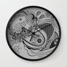 Ornate spring tangle, charcoal grey Wall Clock