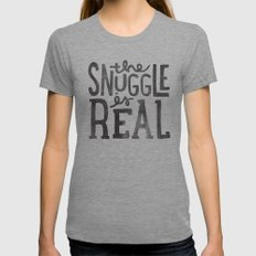 the snuggle is real Tri-Grey MEDIUM Womens Fitted Tee