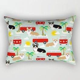 corgi welsh corgis hippie bus tropical beach surf life road trip corgi lover Rectangular Pillow