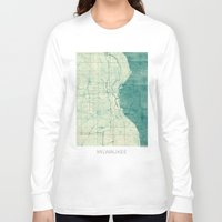 milwaukee Long Sleeve T-shirts featuring Milwaukee Map Blue Vintage by City Art Posters