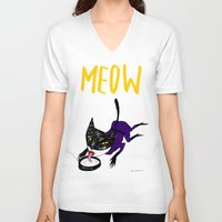 meow V-neck T-shirts featuring Meow by Sylwia Borkowska