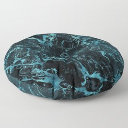 Black & Teal Color Marble Floor Pillow