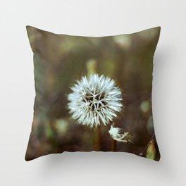 White Stringy Ball Flower  Throw Pillow