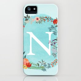 Personalized Monogram Initial Letter N Blue Watercolor Flower Wreath Artwork iPhone Case
