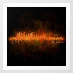 Houston City Skyline Hq v4 DARK Art Print
