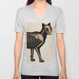 Vintage French zoological board - Cat skeleton Unisex V-Neck