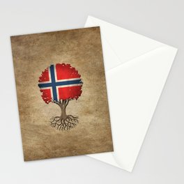 Vintage Tree of Life with Flag of Norway Stationery Cards