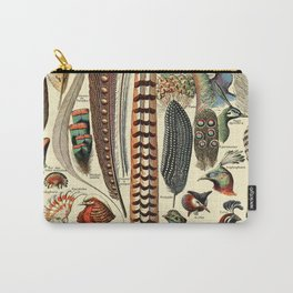 Feathers and Birds Vintage Illustration Drawing by Adolphe Millot of Artsy Wild Bird Feather Vibes Carry-All Pouch
