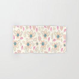 Cream Flower Pattern. Hand & Bath Towel