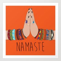namaste Art Prints featuring Namaste by Serra Kiziltas