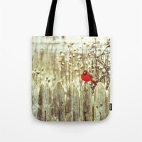 cardinal Tote Bags featuring cardinal by Bonnie Jakobsen-Martin