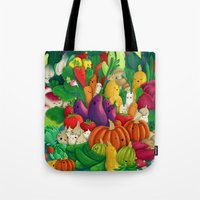 danny ivan Tote Bags featuring Nice People Eat Vegetables - background (Made with Danny Ivan) by Lidija Paradinović Nagulov - Celandine