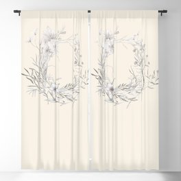 Spun Cotton Floral Wreath Blackout Curtain