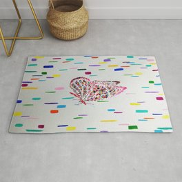 Colorful Fluttering Butterfly  Rug