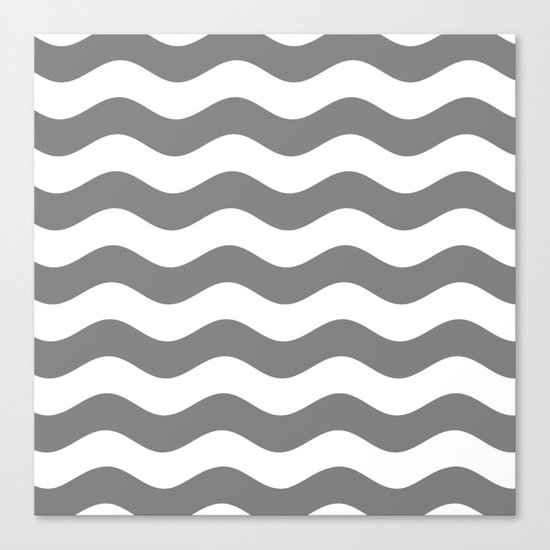 Wavy Stripes (Gray/White) Canvas Print