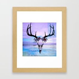 SkullandFlowerCrown Framed Art Print