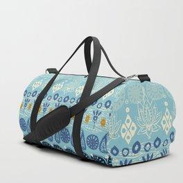 lotus block blue Duffle Bag