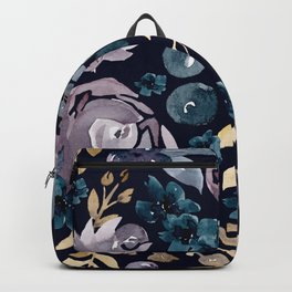 Fall Flowers + Berries on Navy Blue  Backpack