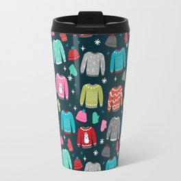 Winter Sweater weather festive holiday snowflakes snow day fun sledding Travel Mug
