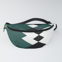 Emerald Green White Black Geometrical Pattern Fanny Pack