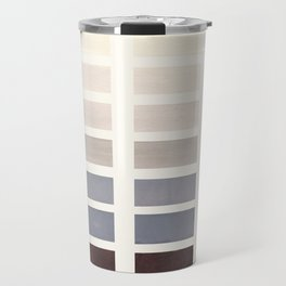 Grey Taupe Watercolor Gouache Geometric Square Matrix Pattern Travel Mug